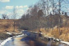 Het waterlandschap van de de lentekreek Stock Fotografie