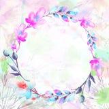 Het waterverfboeket van bloemen, wilg, papaver, kamille, appel bloeit, vector illustratie
