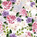 Het waterverfpatroon met groene bladeren, nam en orchideeënbloemen toe vector illustratie