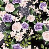 Het waterverfpatroon met groene bladeren, nam en orchideeënbloemen toe royalty-vrije illustratie