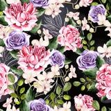 Het waterverfpatroon met groene bladeren, nam en orchideeënbloemen toe stock illustratie