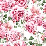 Het waterverfpatroon met roos en pioenbloem, besbessen en eucalyptus gaat weg vector illustratie