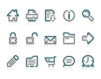 Het Web en Internet van het overzicht pictogrammen Royalty-vrije Stock Foto