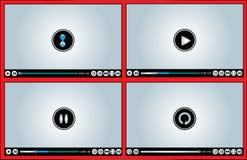 Het Web of Internet baseerde de Glanzende verschillende versies van de VideoSpeler - de illustratie van de Lading/het Als buffer o Royalty-vrije Stock Foto's