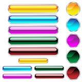 Het Web knoopt glanzende geassorteerde kleuren en vormen dicht Stock Afbeelding