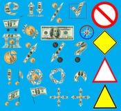 Het Web van de Dollar van de V.S., geplaatste de tekens van verschillende media Stock Afbeelding