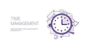 Het Webbanner van het tijdbeheer met Exemplaar Ruimtezaken die Concept plannen stock illustratie