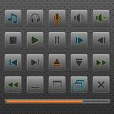 Het Webknopen van de speler en van muziekcontroles pictogrammen, reeks. Royalty-vrije Stock Fotografie