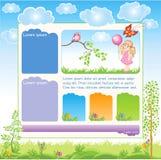 Het Webmalplaatje van het beeldverhaaljonge geitje Royalty-vrije Stock Afbeelding