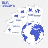 Het Webontwerp van reisinfographics Modern document malplaatje Genummerde opties Vector illustratie Royalty-vrije Stock Afbeelding