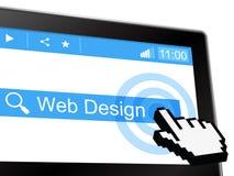 Het Webontwerp vertegenwoordigt Website het Zoeken en Netwerk Royalty-vrije Stock Afbeelding