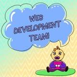 Het WebOntwikkelingsteam van de handschrifttekst Concept die een team van ontwikkelaars betekenen die voor een Zitting van de uit vector illustratie