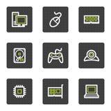 Het Webpictogrammen van de computer, grijze vierkante knopenreeks Stock Foto's