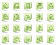 Het Webpictogrammen van de ecologie, groene documentreeks Stock Afbeeldingen