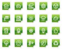 Het Webpictogrammen van de ecologie, groene stickerreeks Royalty-vrije Stock Foto's
