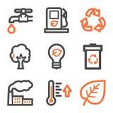 Het Webpictogrammen van de ecologie, oranje en grijze contourreeksen Stock Afbeeldingen