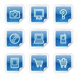 Het Webpictogrammen van de elektronika, blauwe glanzende stickerreeks Stock Afbeelding