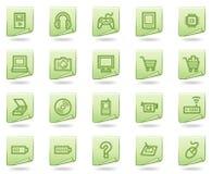 Het Webpictogrammen van de elektronika, groene documentreeks Stock Afbeeldingen