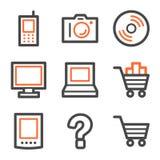 Het Webpictogrammen van de elektronika, oranje en grijze contour Stock Afbeelding