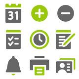 Het Webpictogrammen van de organisator, groene grijze stevige pictogrammen Stock Foto's