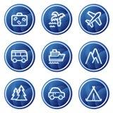 Het Webpictogrammen van de reis, de blauwe reeks van cirkelknopen Royalty-vrije Stock Foto