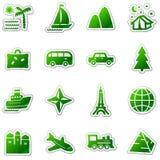 Het Webpictogrammen van de reis, groene stickerreeks Royalty-vrije Stock Foto