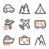 Het Webpictogrammen van de reis, oranje en grijze contourreeksen Stock Afbeelding