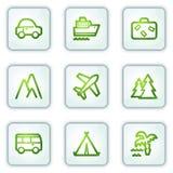 Het Webpictogrammen van de reis, witte vierkante knopenreeks Stock Fotografie