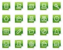 Het Webpictogrammen van de server, groene stickerreeks Royalty-vrije Stock Afbeelding