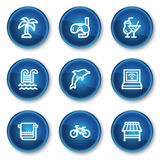 Het Webpictogrammen van de vakantie, blauwe cirkelknopen Stock Foto