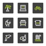 Het Webpictogrammen van de vakantie, grijze vierkante knopenreeks royalty-vrije illustratie
