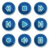 Het Webpictogrammen van de walkman, blauwe cirkelknopen Royalty-vrije Stock Afbeelding