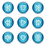 Het Webpictogrammen van de walkman, blauwe glanzende gebiedreeks Royalty-vrije Stock Afbeelding
