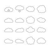 Het Webpictogrammen van de wolkenlijn voor wolk gegevensverwerking Royalty-vrije Stock Foto's