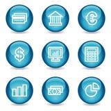 Het Webpictogrammen van financiën, blauwe glanzende gebiedreeks Royalty-vrije Stock Afbeelding