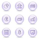 Het Webpictogrammen van financiën, glanzende parelreeks Stock Afbeeldingen