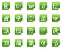 Het Webpictogrammen van financiën, groene stickerreeks Royalty-vrije Stock Afbeelding