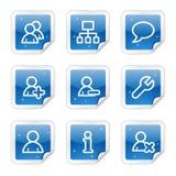 Het Webpictogrammen van gebruikers, blauwe glanzende stickerreeks Royalty-vrije Stock Afbeeldingen