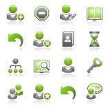 Het Webpictogrammen van gebruikers. Grijze en groene reeks. Stock Foto's