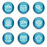 Het Webpictogrammen van gegevens, blauwe glanzende gebiedreeks Stock Foto