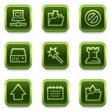 Het Webpictogrammen van gegevens, groene vierkante knopenreeks Royalty-vrije Stock Afbeeldingen