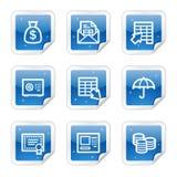 Het Webpictogrammen van het bankwezen, blauwe glanzende stickerreeks Stock Fotografie
