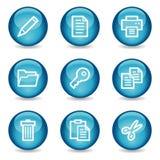 Het Webpictogrammen van het document, blauwe glanzende gebiedreeks Stock Fotografie