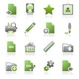 Het Webpictogrammen van het document, reeks 2. Grijze en groene reeks. Stock Foto's