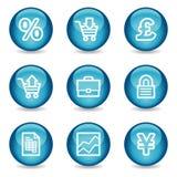 Het Webpictogrammen van het e-business, glanzende gebiedreeks vector illustratie
