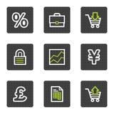 Het Webpictogrammen van het e-business, grijze vierkante knopenreeks Stock Foto's