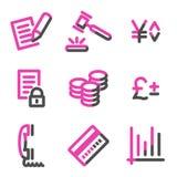 Het Webpictogrammen van het e-business, roze contourreeks Royalty-vrije Stock Afbeelding