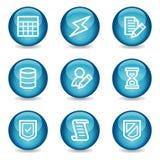 Het Webpictogrammen van het gegevensbestand, blauwe glanzende gebiedreeks Royalty-vrije Stock Fotografie