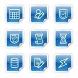 Het Webpictogrammen van het gegevensbestand, blauwe glanzende stickerreeks Stock Foto's