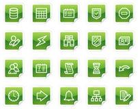 Het Webpictogrammen van het gegevensbestand, groene stickerreeks Stock Foto's